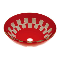 Renovators Supply - Vessel Sinks Red/White Glass Checkered Round Vessel Sink - Glass Vessel Sinks: Double Layer Tempered glass sinks are five times stronger than glass, 3/4 inch thick, withstand up to 350 F degrees,  can resist moderate to high degrees of impact & are stain��_��__��_��__��_��__proof. Ready to install this package includes FREE 100% solid brass chrome-plated pop-up drain, FREE machined 100% solid brass chrome-plated mounting ring & silicone gasket. Measures 16 1/2 in. dia. x 6 in. deep x 3/4 in. thick.