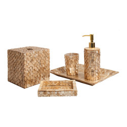 Six Piece Gold Wings Capiz Bathroom Set - Rich and rippling in the hues of pirate gold, warm sandstone, empty beaches, and succulent tanned skin, the Gold Wings Capiz Bathroom Set lets the luxurious sunshine into your bath without any need of a window. This exotic tropical bath set includes six matching accessories their silhouettes simple, but their design grand with a layering of cut golden capiz shell which was responsibly collected and created in the Philippines.