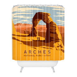 Anderson Design Group Arches Shower Curtain - Wish you were here? You can be every day with this retro postcard-inspired shower curtain. Sure to transport your bath to a vacation state of mind, it features warm, earthy desert colors and blue and white clouds. Whether you've been to Arches National Park, or just want to go, this shower curtain's a butte.