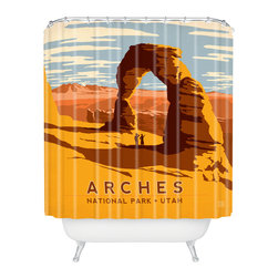 DENY Designs - Anderson Design Group Arches Shower Curtain - Wish you were here? You can be every day with this retro postcard-inspired shower curtain. Sure to transport your bath to a vacation state of mind, it features warm, earthy desert colors and blue and white clouds. Whether you've been to Arches National Park, or just want to go, this shower curtain's a butte.