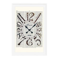 "Zlatka Paneva Framed Print, Vintage Clock, Mat, 28 x 42"", White - These vintage prints cover an eclectic range of subjects, from an old gramophone to a golden olive branch. They are endlessly fascinating to look at, as each one features layers of collage using old book pages as a canvas for full color, and black and white drawings and prints. 11"" wide x 13"" high 16"" wide x 20"" high 28"" wide x 42"" high Alder wood frame. Black or white painted finish; or espresso stained finish. Beveled white mat is archival quality and acid-free. Available with or without a mat."