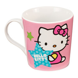 Hello Kitty - Hello Kitty Stars Ceramic Mug - This charming dishwasher- and microwave-safe mug will always add a nostalgic smile to a sip of chamomile or French Roast thanks to its friendly Hello Kitty design.   Includes one mug Holds 12 oz. Ceramic Microwave- and dishwasher-safe Imported