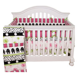 Cotton Tale Designs - Hottsie Dottsie 4pc Crib Bedding Set - The Hottsie Dottsie 4pc crib bedding collection by Cotton Tale Designs is 100% cotton. This Graphic, fun, contemporary nursery in white, black, pink and green is perfect for any little girl's room.