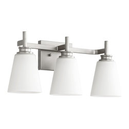 Quorum Lighting - Quorum Lighting Friedman Modern / Contemporary Bathroom / Vanity Light X-46-3-20 - From the Freidman Collection, bring clean styling and modern flair into your bathroom with this Quorum Lighting bathroom light. This modern vanity light pairs effortless clean lines with a stylish Classic Nickel finish. Sleek satin opal glass shades complete the look.