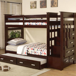 $530 Espresso Kids Wood Twin Twin Stairway Bunk Beds Storage Trundle Stairs - The Allentown Collection 10170 is the perfect choice for your child's room, offering a rich espresso finish twin twin bunk bed, with a twin trundle for overnight guests and a stairway for the upper bunk with built in storage drawers.