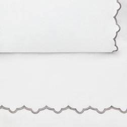 Crane & Canopy - Scalloped Pillowcase (Gray) - Standard - The pretty shape of a seashell, the freshest colors of the season, and a scalloped embroidered hem make our sheets the ultimate source of luxury. Beautifully embroidered and super soft, our sheets are woven from 400 thread count extra-long staple cotton sateen.