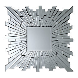 LexMod - Stagger Wall Mirror - Gather together altered states of reality. The polished array of Stagger allows you to see yourself either as a composite or as one complete you. With beveled edges and a striking contemporary look, blend together extremes in a showpiece of expressionism.