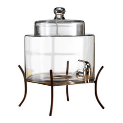 "Jay Companies - Fifth Avenue Crystal Glass Drink Dispenser with Metal Stand - For those hosts looking to spice up their next party, this fine glass drink dispenser will add the perfect finishing touch to parties and events. Perfect for iced teas, punch, margaritas, or juices, this drink dispenser is an excellent accent for a wedding reception or other special event. Detailed black stand elevates jugs for an attractive presentation and easy dispensing, and decorative glass lids top the beverage dispensers for a graceful display. * Capacity: 2 gallons * Dimensions: 8"" x 8"" H: 15"" * Hand wash recommended"