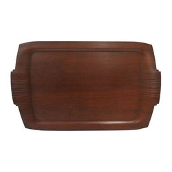 Used Mid-Century Wooden Tray - We adore the sleek look of this Mid-Century vintage wooden tray. With decorative carvings on the handles, this piece is a show stopper. Place it on your ottoman and serve up some coffee from your Chemex or set it on your dresser and use it to hold all your accessories.