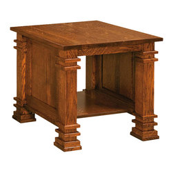 Chelsea Home Furniture - Chelsea Home Elizabethtown End Table in Michaels Cherry - Complete your Elizabethtown living room set with matching solid wood Quarter Sawn Oak tables with Michaels Cherry finish. The end table, coffee table and sofa table are crafted with the same precision as all of our solid wood products, with carved pillars and horizontal details on the corners. Each table comes complete with a solid bottom shelf to store magazines, DVDs and other entertainment items. Chelsea Home Furniture proudly offers handcrafted American made heirloom quality furniture, custom made for you. What makes heirloom quality furniture? It�s knowing how to turn a house into a home. It�s clean lines, ingenuity and impeccable construction derived from solid woods, not veneers or printed finishes over composites or wood products _ the best nature has to offer. It�s creating memories. It�s ensuring the furniture you buy today will still be the same 100 years from now! Every piece of furniture in our collection is built by expert furniture artisans with a standard of superiority that is unmatched by mass-produced composite materials imported from Asia or produced domestically. This rare standard is evident through our use of the finest materials available, such as locally grown hardwoods of many varieties, and pine, which make our products durable and long lasting. Many pieces are signed by the craftsman that produces them, as these artisans are proud of the work they do! These American made pieces are built with mastery, using mortise-and-tenon joints that have been used by woodworkers for thousands of years. In addition, our craftsmen use tongue-in-groove construction, and screws instead of nails during assembly and dovetailing _both painstaking techniques that are hard to come by in today�s marketplace. And with a wide array of stains available, you can create an original piece of furniture that not only matches your living space, but your personality. So adorn your home wit