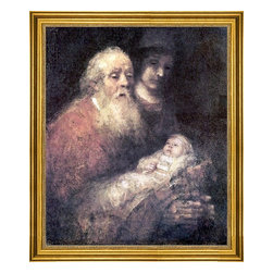 """Rembrandt Van Rijn-16""""x20"""" Framed Canvas - 16"""" x 20"""" Rembrandt Van Rijn Simon with Jesus framed premium canvas print reproduced to meet museum quality standards. Our museum quality canvas prints are produced using high-precision print technology for a more accurate reproduction printed on high quality canvas with fade-resistant, archival inks. Our progressive business model allows us to offer works of art to you at the best wholesale pricing, significantly less than art gallery prices, affordable to all. This artwork is hand stretched onto wooden stretcher bars, then mounted into our 3"""" wide gold finish frame with black panel by one of our expert framers. Our framed canvas print comes with hardware, ready to hang on your wall.  We present a comprehensive collection of exceptional canvas art reproductions by Rembrandt Van Rijn."""