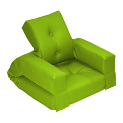 Fresh Futon - Hippo Jr. Convertible Futon Chair/Bed, Lime Mattress - Unlike its animal counterpart the Hippo is sure to be a space-saving marvel in any room folding from a cozy chair to a plush mattress than can be stored under most beds.. Available in 9 twill fabric color options.