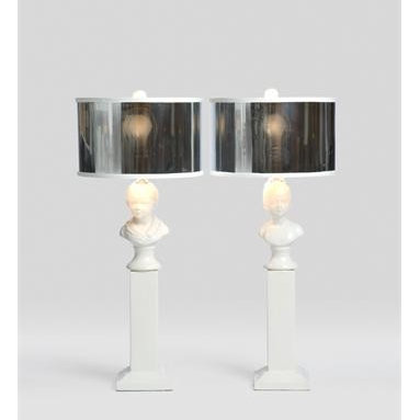 Boy and Girl Table Lamps - Sophisticated, edgy and whimsical all at the same time, the Boy and Girl lamps are certain to delight you.   Sold as a set, the bases of the Boy and Girl Lamps are glazed porcelain.