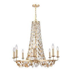 Crystorama Lighting - Crystorama Lighting 568-GA Bella Eclectic Chandelier in Antique Gold - Crystorama Lighting 568-GA Bella Eclectic Chandelier In Antique Gold With Metal Lenses + Hand Cut Crystal