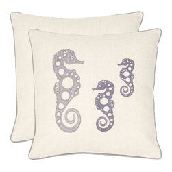 Safavieh - Safavieh Tropical Oreas Pillow X-2TES-8181-A238LIP - A family of three chain-stitched seahorses in a fashion-right blue-grey tone is artfully contrastedwith coordinating satin piping and a cream-colored ground fabric in a blend of linen and cotton.
