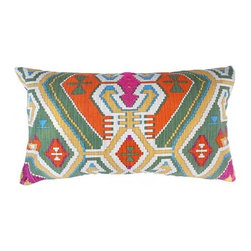 5 Surry Lane - Waverly Eagle River Multi Southwest Global Pillow - Add a wash of color to your bedroom or living room with this brightly colored pillow. The print reverses to a solid color, so you can create a new look whenever the mood strikes you. Hidden zipper closure with a down/feather insert. Made in the USA.