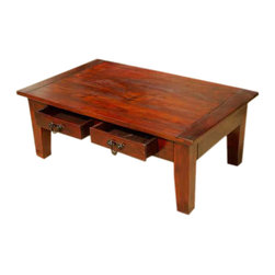 Sierra Living Concepts - Russet Large Wood Coffee Table with Drawers - Simply Elegant Russet Cocktail Table has two drawers for storage and timeless appeal.