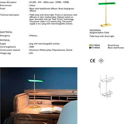 Flos Goldman Lamp - Flos Goldman Lamp by Ron Gilad. The Goldman table lamp was designed by Ron Gilad and is made by Flos in Italy.  From Stardust.  The Goldman LED Table Lamp by Flos is restyled edition of the traditional bankers lamps with green glass shades from yesteryear.