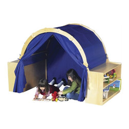 """Guidecraft - Guidecraft Birch Playhouse Hideaway with Bookshelves - Guidecraft - Playhouses - G6418 - You get three units in one with this unique storage dramatic-play and quiet time structure. Each of the 2 bookshelves provides ample storage for books games and puzzles. The 'play hut"""" features canopy and front and rear curtains. Kids can create their own house market theater stage or quiet space for reading drawing or napping."""