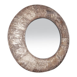 Sterling Industries - Birch Bark In Wood Finish Mirror - The Birch Bark In Wood Finish is a great round mirror that had a distressed birch bark finish on the frame.  The size of the mirror really gives this a truly artistic feel that is a mix of modern industrial and transitional living.