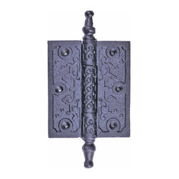 Renovators Supply - Door Hinges Black Cast Iron Door Hinge 5 3/4H x 3W - Iron Hinge. These outstanding hinges crafted wrought iron are popular on cabinet doors, armoires, and gates. A fabulous detail for a modern sleek look or for that Old Colonial charm. Features a removable pin for easy door removal. Our exclusive RSF coating protects this product for years to come. Mounting hardware included. Sold individually.