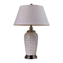 Dimond Lighting - Dimond Lighting D2306 Winslow Winter White Glazed Table Lamp - Dimond Lighting D2306 Winslow Winter White Glazed Table Lamp