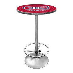 Trademark Global - Round Pub Table w NHL Montreal Canadians Logo - Bring a sporty spirit to your game room or bar area decor with this stylish pub table, features a chrome colored steel base and a wood top with the officially licensed Montreal Canadiens team logo, protected by a clear acrylic shield. The table would make a great gift idea for any sports fan, and coordinating stools are available separately. Great for gifts and recreation decor. 0.125 in. Scratch resistant UV protective acrylic top. Full color printed logo is protected by the acrylic top. Table top is trimmed with chrome plated banding. 1 in. Thick solid wood table top. Chrome base with foot rest and adjustable levelers. 28 in. L x 28 in. W x 42 in. H (72 lbs.)This National Hockey League officially licensed pub table is the perfect for your game room on Hockey Night.