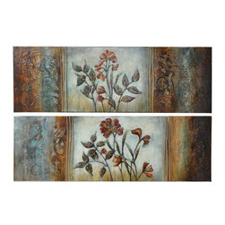 Crestview Collection - Crestview Collection Spreading Warmth Botanical Hand-Painted Stretched Canvas Wa - Crestview Collection Spreading Warmth Botanical Hand-Painted Stretched Canvas Wall Art X-0021POTVC