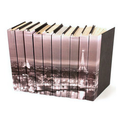 Image Collection Books  - Paris Skyline - Set of 10 - A timeless sense of place is writ large in your home by the Paris Skyline Image Collection set of ten designer books.  Softened by distance, this view of Paris in black and white affords an intimate panorama of the City of Lights at its best, making it the perfect subject for unusual treatments e like the parchment spines of these decorative volumes.