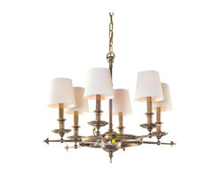 Harbor House Antique Copper and 6 Fabric Shades Chandelier -