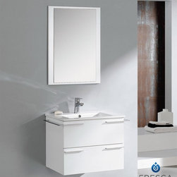 """Fresca Cielo White 24"""" Modern Bathroom Vanity - Fresca Cielo White 24"""" Modern Bathroom Vanity is one of the most compact vanities around. This 24"""" wall mounted vanity model comes with a ceramic sink and matching mirror. Even small towel bars are attached to both sides of the vanity. Spectacular designs are available in Fresca vanities Collection, with choices between glasses or marble top wall mounted vanity, clear glass double bowl vanity, single sink bathroom vanity with frosted glass, and some more."""
