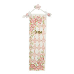 Reesa - Rose Hand Painted Canvas Growth Chart - Rose Growth Chart