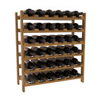 36 Bottle Stackable Wine Rack in Redwood with Oak Stain + Satin Finish - A pair of discounted wine racks allow double wine storage at a low price. This rack accommodates all 750ml bottles, Pinots and Champagnes. The quintessential DIY wine rack kit. Your satisfaction is guaranteed.