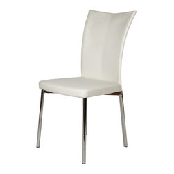 """Whiteline Imports - Alice Dining Chair (Set of 2) - Features: -Set includes 2 chairs. -Material: Faux leather. -Chrome frame. Dimensions: -36"""" H x 22"""" W x 17"""" D, 25 lbs."""