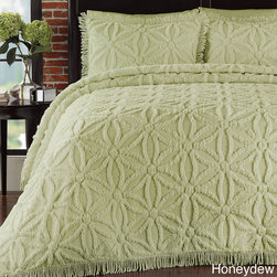 None - Arianna Chenille 3-piece Bedspread Set - Available in a variety of vibrant colors,this bedspread set also includes at least one matching sham. The cotton surface is shaped into a lovely circle of flowers design.