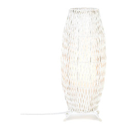 Gifts Galore - White Woven Floor Lamp - A fascinating framework of white woven metal makes this dynamic lamp a stunning addition to any room in your home.  Switch it on and the bulb inside lights up this piece of functional art.  UL recognized.  Uses 40 Watt, Type A light bulb.  (not included)