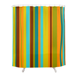 Crash Pad Designs - Crash Pad Designs Funky Shower Curtain-Asher - For an unexpected take on the striped shower curtain, employ this unique pattern in retro-inspired colors! This bright curtain is made from 100 percent polyester, features 12-stitched button holes for hanging, and will set such a playful tone for your bathroom!