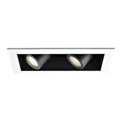 """WAC - WAC 40 Degree 3000K LED Recessed Housing Double Flood Light - Offer a smooth finished look to your ceilings with this 3000K LED recessed housing designed for new construction projects. A white finish trim surrounds the black housing which holds two dimmable flood lights with a 40 degree beam spread. For non-insulated ceilings. ENERGY STAR® rated. ETL and cETL listed. Compatible with WAC recessed lighting products. 4"""" WAC new construction double flood light recessed housing. 40 degree beam spread. Color temperature is 3000K. Includes two 16 watt LEDs. Light output is 1100 lumens per light. Comparable to two 75 watt MR16 bulbs. Bulbs average 50000 hours at 3 hours a day. 100 percent to 10 percent dimming. CRI is 85. 120 to 277 volts. ENERGY STAR® rated. For non-insulated ceilings. 19 5/8"""" wide. 6"""" high.  4"""" WAC new construction double flood light recessed housing.  40 degree beam spread.  Color temperature is 3000K.  Includes two 16 watt LEDs.  Light output is 1100 lumens per light.  Comparable to two 75 watt MR16 bulbs.  Bulbs average 50000 hours at 3 hours a day.  100 percent to 10 percent dimming.  CRI is 85.  120 to 277 volts.  ENERGY STAR® rated.  For non-insulated ceilings.  19 5/8"""" wide.  6"""" high."""