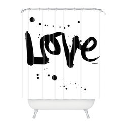 Kal Barteski Love 1 Shower Curtain - All you need is love … plus soap and water. Start every day with this simple yet powerful message, courtesy of a woven polyester shower curtain made in the USA.