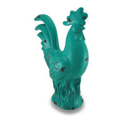Zeckos - Large Distressed Finish Teal Blue Ceramic Rooster Statue - Crafted from ceramic, this fun teal blue rooster statue has brown enamel accents that give it a distressed look. Measuring 15 1/2 inches high, 11 1/2 inches long and 5 1/2 inches wide, looks great on countertops, shelves or tables and has foam pads on the bottom to help protect display surfaces. This rooster statue is a must-have piece perfect for any rooster lover's collection