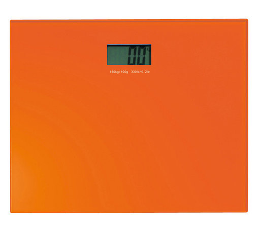 Gedy - Square Orange Electronic Bathroom Scale - Square contemporary orange glass electronic bathroom scale.