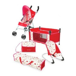 Maclaren - Maclaren Junior Quest Cupcake MaraChino Cherry 5- in -1 Doll Activity Center - This 5-in-1 Activity Center offers doll-sized fun for your little one. With true-to-life details, this versatile set includes a Quest stroller, night-time cot with carrying case, daytime rocker and a matching diaper bag.