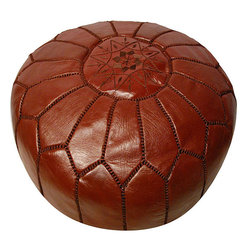 Leather Chocolate Brown Pouf Ottoman, Morocco - Plop this round leather ottoman down in front of a modern accent chair for all the comforts of a recliner minus the elderly aesthetic.
