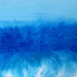 Ripple Effect  (Original) by K. Rishay Moehr - Ripple Effect is a soft contemporary original artwork. It is tones of blue and white. It has finished edges and is ready to hang.
