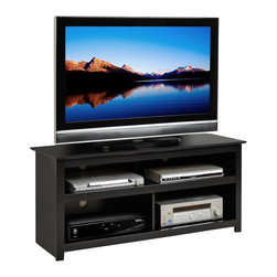 Prepac - Prepac Vasari Flat Panel Plasma / LCD TV Console in Black - Our extremely popular Vasari flat panel plasma / LCD TV console showcases your audio/video components with style. This sleek console holds TVs up to 150 lbs., and with four storage compartments, has room to spare for your DVD player, gaming consoles and other components you need nearby. Organize your electronics thanks to cutouts in the sturdy MDF backer that provide cable management, as well as ventilation, for each compartment. Durable and practical, it's a great choice for your audio/video components.