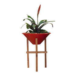 Steel Life - Matchstick Planter, Citrine (Red) - This clean-lined, modern plant pot is suitable for both indoor and outdoor use.  The dense, rich-grained plant stand is made from American White Oak, just as fine wine and whiskey barrels are made from.  This hard wood is then coated with natural, renewable oils and waxes to protect it from UV rays and water damage.  This coating is biocide and preservative free and safe for humans, animals and plants. It has also been recognized by Sustainable Industries and Green Building Product Dealers.