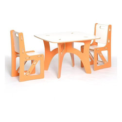 Sprout - Sprout Childrens Table and 2 Chairs Set - Orange and White - KT2C001-ORN_WHT - Shop for Childrens Table and Chair Sets from Hayneedle.com! Designed with kids and parents in mind the Sprout Childrens Table and Chairs Set - Orange and White gives kids a place to do their thing and parents the peace of mind that comes with hassle-free children's furniture. Use it like a folding table - break it down when you don't need it and set it up again in just seconds when you do. It's so easy to assemble even the kids can do it! The seat back and brace of the chairs can be swapped with other chairs rockers or cubbies to change the style color or even the function of the chair. Made of CARB compliant MDF - a sustainable pre-consumer recycled wood product - the Sprout Childrens Table and Chair Set is eco friendly furniture you and your children will love. Weight Limit: 150 lbs.About Sprout Kids FurnitureDesigned to be more than just furniture Sprout children's furniture prefers to be known as a medium of creativity a medium of discovery. Sprout designs furniture that's easy to assemble and goes together in minutes without tools or hardware. Interchangeable modular components let you simply snap parts together and even rearrange. A patent pending joint system is built right into the parts. Individual parts can be swapped to change up the style or even the function of your furniture. Even moving is easy! This furniture is collapsible so you can build it when you need it and store it when you don't. You could fit an entire playroom in the back of your car. This furniture is simple to use and simple to manufacture. With the environment as a priority parts are optimized to reduce waste when cut and they pack flat reducing shipping costs. All Sprout products are made from pre consumer recycled wood and made in the U.S.A.