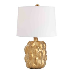 Verner Matte Gold Porcelain Accent Lamp - The Verner Accent Lamp adds pleasing, practical light to a base which is a sculpture in its own right.  The rippling sides and slightly crooked neck of a harvest fruit have been chosen for home ornaments since the Renaissance, and still look perfectly on-key in traditional schemes and transitional designs of today.  The one used for the Verner Lamp's base is glazed in matte metallic gold for a look of earthy luxury in your accent lighting.