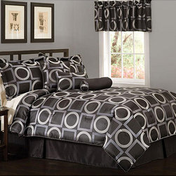 None - Geo Grid Black 7-piece Jacquard Comforter Set - Bring some warmth and comfort to your bedroom with this black seven-piece jacquard comforter set. This contemporary patterned comforter set is made from 100 percent cotton and includes comforter, two shams, a bed skirt, and three pillows.