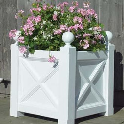 """Orangerie Planter - Features of this standard cellular vinyl 25"""" sq. planter include cross-diagonals with fine detailing, and classic 4"""" Sphere finials on 3 1/2"""" sq. corner posts. 28 3/4"""" H. Mortise and tenon construction. Shipped kit."""
